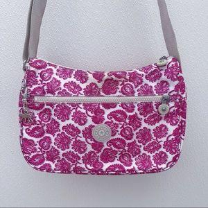 Kipling crossbody bag pink purple monkey canvas